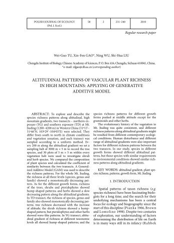 ALTITUDINAL PATTERNS OF VASCULAR PLANT RICHNESS IN ...