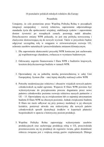 10 postulatów polskich młodych rolników dla ... - Polagra-Premiery