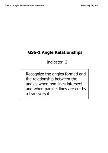 GSS 1 - Angle Relationships.notebook