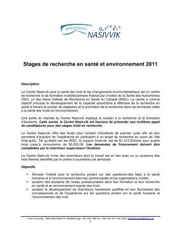 Stages de recherche en santé et environnement 2011