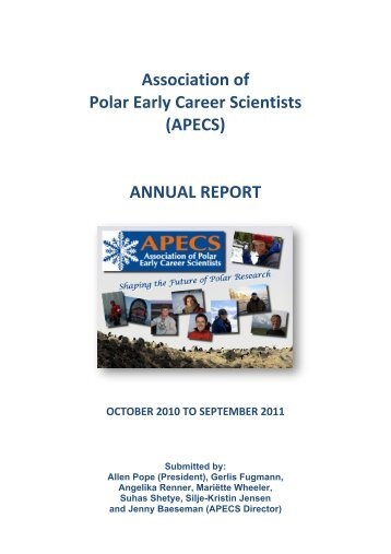 Association of Polar Early Career Scientists (APECS) ANNUAL ...