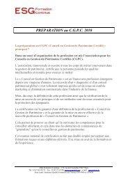 Programme de la préparation du CGPC