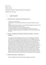 I. AVANT DE PARTIR 1. Choix des cours : (comment, quoi, dans ...