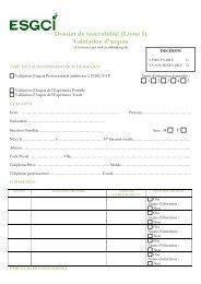 Dossier de recevabilité (Livret I) Validation d'acquis