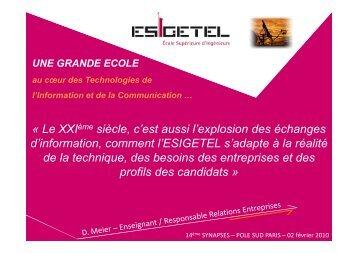 Présentation ESIGETEL - Pôle Sud Paris