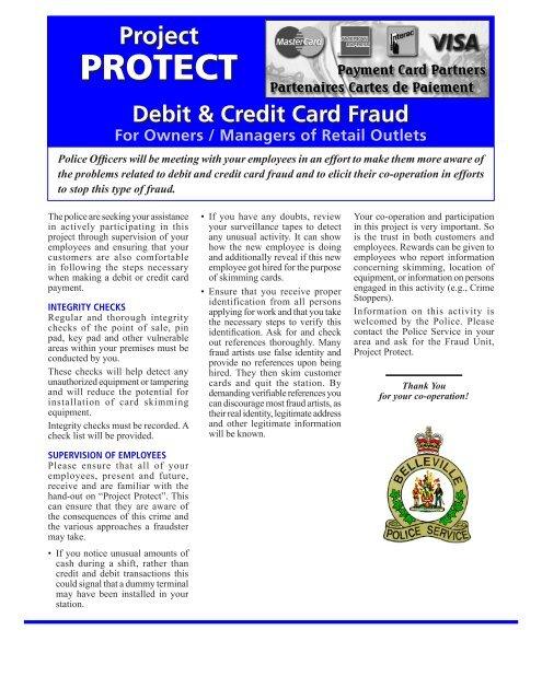 Debit Credit Card Fraud Belleville Police Service