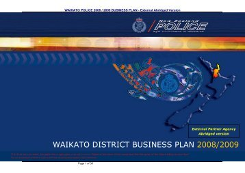 waikato district business plan 2008/2009 - New Zealand Police