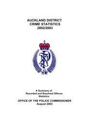 auckland district crime statistics 2002/2003 - New Zealand Police