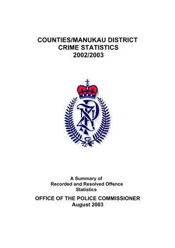 counties/manukau district crime statistics 2002/2003 - New Zealand ...
