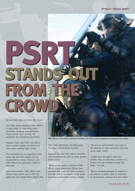 PSRT Stands Out from the Crowd - Queensland Police Service