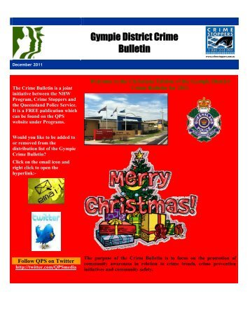 Gympie Crime Bulletin December 2011 - Queensland Police Service