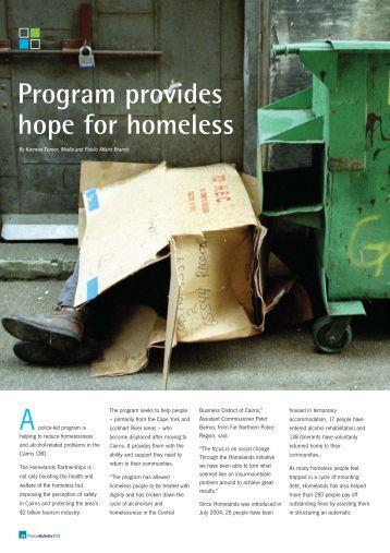 Program provides hope for homeless - Queensland Police Service