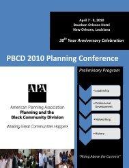 PBCD 2010 Planning Conference: Preliminary Program - PolicyLink