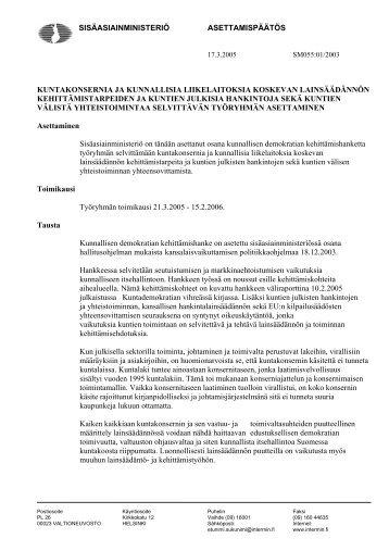 sisäasiainministeriö asettamispäätös kuntakonsernia ja ... - Poliisi