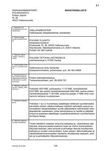 2.1 1(4) SISÄASIAINMINISTERIÖ REKISTERISELOSTE ... - Poliisi