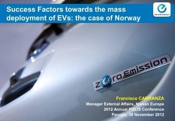 Success factors towards the mass deployment of EVs