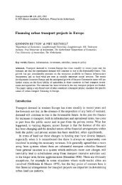 Financing urban transport projects in Europe