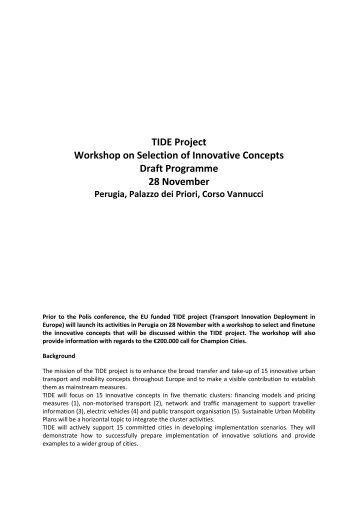 TIDE Project Workshop on Selection of Innovative Concepts Draft ...