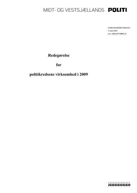 Virksomhedsredegørelse 2009 - Politi