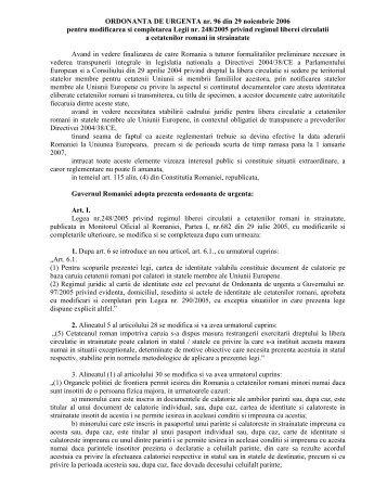 ORDONANTA DE URGENTA nr. 96 din 29 noiembrie 2006 pentru ...