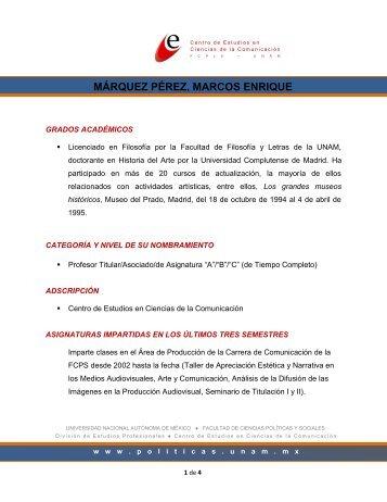 márquez pérez, marcos enrique - Facultad de Ciencias Políticas y ...