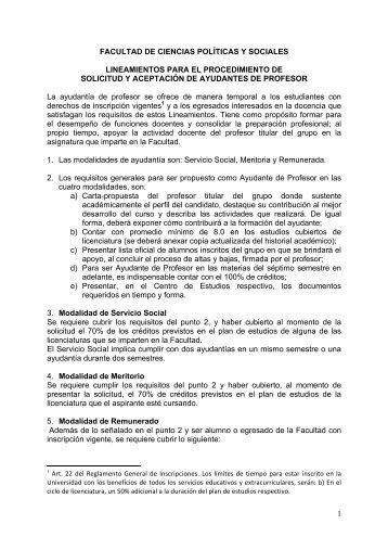 Lineamientos Ayudantes - Facultad de Ciencias Políticas y Sociales