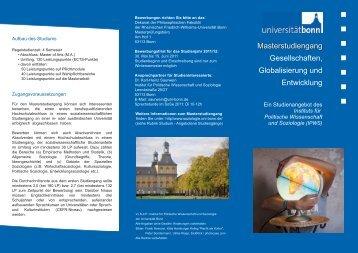 Masterstudiengang Gesellschaften, Globalisierung und Entwicklung