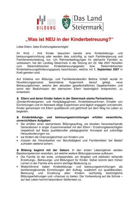 Text mit allen NEUHEITEN als DOWNLOAD - Politik - Land Steiermark