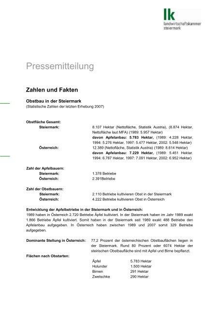 Zahlen und Fakten zum Obstbau in der Steiermark - Politik - Land ...