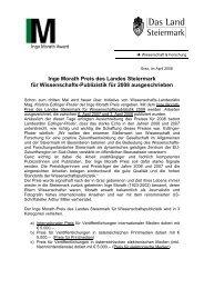 Ausschreibung Inge Morath Preis 2008 - Politik - Land Steiermark