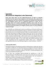 Wirtschaft für Integration in der Steiermark - Politik - Land Steiermark