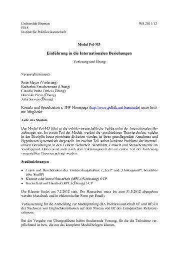 Vorlesung und Übung: Einführung in die Internationalen Beziehungen
