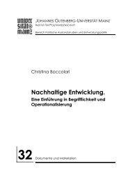 Nachhaltige Entwicklung. - Institut für Politikwissenschaft - Johannes ...