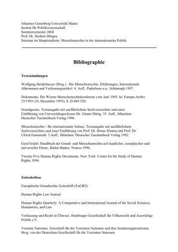 Bibliographie - Institut für Politikwissenschaft - Johannes Gutenberg ...