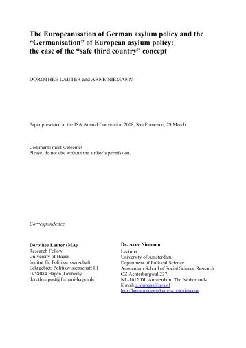 The Europeanisation of German asylum policy and the - Institut für ...
