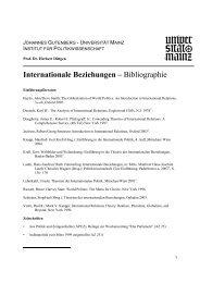 Internationale Beziehungen - Institut für Politikwissenschaft ...