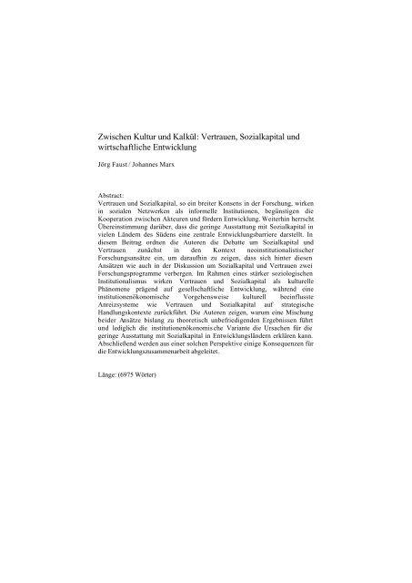 Vertrauen, Sozialkapital und wirtschaftliche Entwicklung - Institut für ...