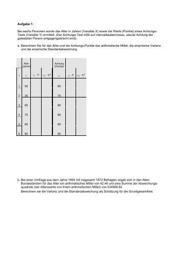 Aufgabe 1: Bei sechs Personen wurde das Alter in Jahren (Variable ...