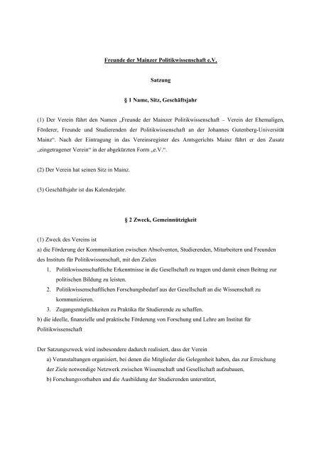 """(1) Der Verein führt den Namen """"Freund - Institut für ..."""