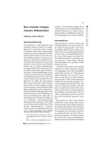 Den etniska integra- tionens dimensioner - Politiken.se
