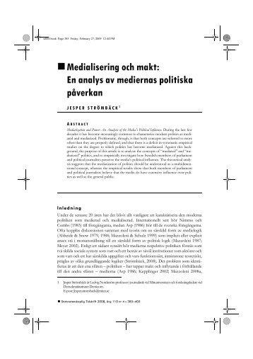 Medialisering och makt: En analys av mediernas ... - Politiken.se