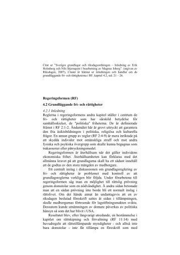 Regeringsformen (RF) 4.2 Grundläggande fri- och ... - Politiken.se