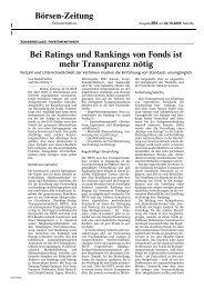 Bei Ratings und Rankings von Fonds ist mehr Transparenz ... - DVFA