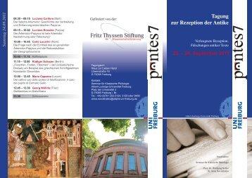 Tagung zur Rezeption der Antike - Seminar für Klassische ...