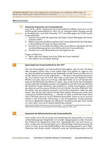 Historische Argumente zum Frauenwahlrecht - Forum Politische ...