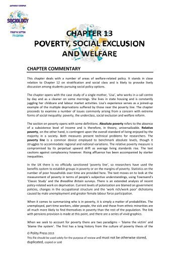 Chapter 13 - Poverty, Social Exclusion and Welfare - Polity