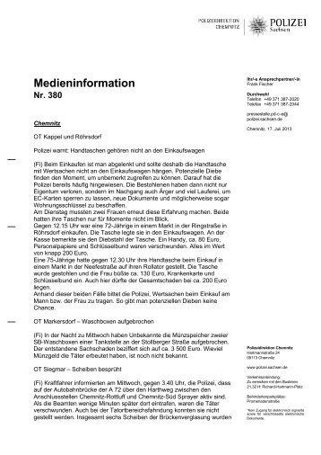 Medieninformation [Download *.pdf, 101.79 KB] - Polizei Sachsen