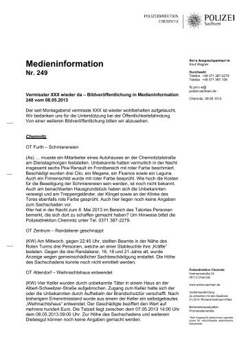 Medieninformation [Download *.pdf, 144.80 KB] - Polizei Sachsen