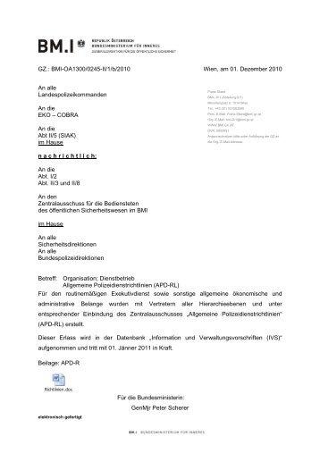 BMI-OA1300/0245-II/1/b/2010 Wien, am 01. Dezember 2010 ... - FSG
