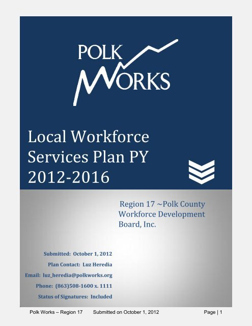 Local Workforce Services Plan PY 2012-2016 - Polk County